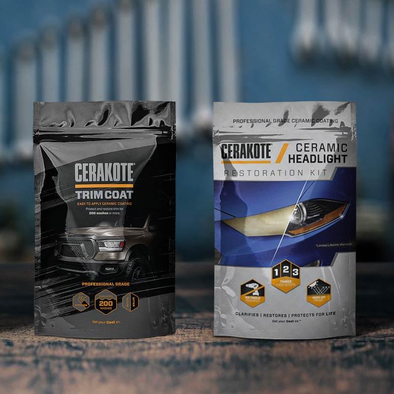 Cerakote bilvårdsprodukter - Trim Coat och Ceramic Headlight.